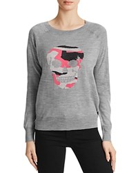 Aqua Camo Skull Crewneck Sweater Heather Grey