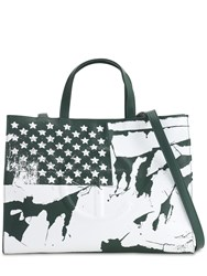 Telfar Medium Flag Print Shopper Tote Bag Dark Olive