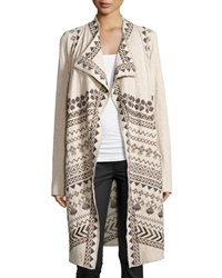 Biya Chevren Geometric Print Long Cardigan Oatmeal