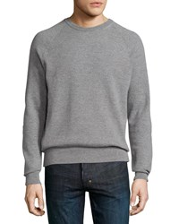Billy Reid Textured Wool Blend Crewneck Sweater Gray Men's