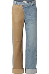Monse Leather Paneled Mid Rise Straight Leg Jeans Blue