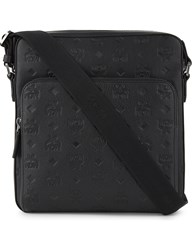 Mcm Otto Monogram Small Coated Canvas Messenger Black