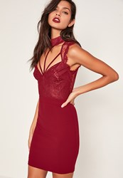 Missguided Red Lace Cami Choker Bodycon Dress Oxblood