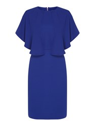 Biba Zip Back Cape Overlay Dress Blue