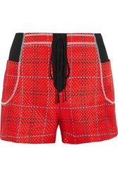 3.1 Phillip Lim Twill Paneled Tweed Shorts Red