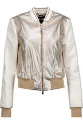 Just Cavalli Metallic Faux Textured Leather And Satin Bomber Jacket Gold