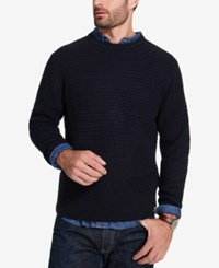 Weatherproof Vintage Men's Textured Sweater Navy