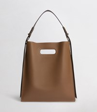 Allsaints Voltaire Leather Flat Hobo Bag Luggage Chocolate