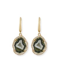 Rina Limor Natural Druzy Agate And Diamond Drop Earrings