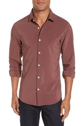 Mizzen Main Men's Big And Tall Douglas Grey And Chili Check Sport Shirt Red