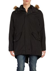 Cole Haan Fur Trim Hooded Anorak Parka Black