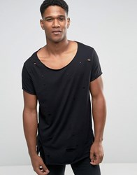 Asos Super Longline T Shirt With Heavy Distressing And Scoop Neck In Black Black