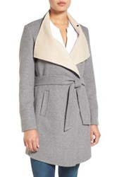 Laundry By Shelli Segal Double Face Wrap Coat Regular And Petite Gray