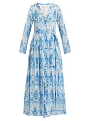 Athena Procopiou Kalua Print Silk Crepe Dress Blue White