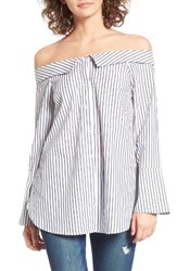 Lush Women's Stripe Off The Shoulder Top