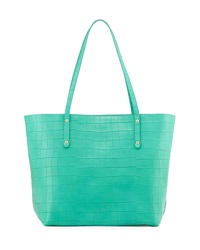 Neiman Marcus Tori Croc Embossed Leather Tote Bag Peacock Green