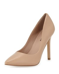 Neiman Marcus Prestige Leather Pointed Toe Pump Flesh