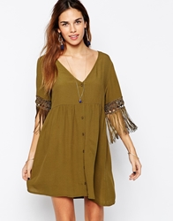 Kiss The Sky Button Down Dress With Tassel Sleeves Khaki