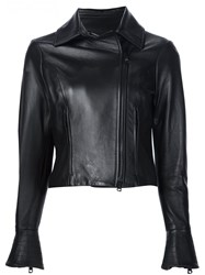Carolina Herrera Leather Motorcycle Jacket Black