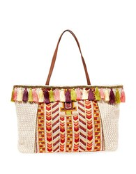 Steve Madden Woven Tapestry Pattern Satchel Bag Coral Multi