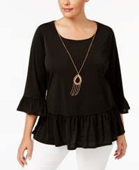 Ny Collection Plus Size Bell Sleeve Peplum Necklace Top Black