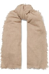 Chan Luu Frayed Cashmere Scarf Brown
