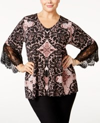 Alfani Plus Size Printed Lace Trim Top Only At Macy's Bold Embroidery