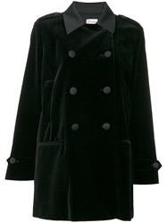 Red Valentino Classic Peacoat Women Cotton Polyester Spandex Elastane Acetate 46 Black
