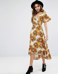 Kiss The Sky Wrap Front Midi Tea Dress In Golden Sunflower Print Yellow