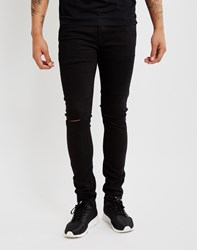 Only And Sons Mens Skinny Fit Jeans With Cut Knees Black