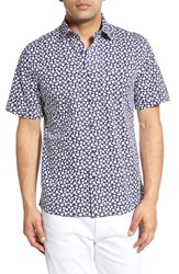 Men's Toscano Regular Fit Short Sleeve Floral Print Sport Shirt
