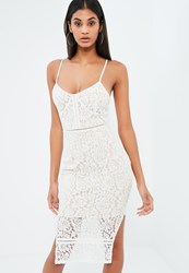 Missguided White Lace Strappy Plunge Midi Dress