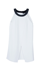 Tibi Arden Crepe Draped Halter Top