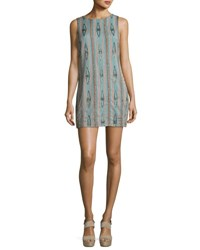 Alice Olivia Clyde Embellished Sleeveless Shift Dress Green Multi