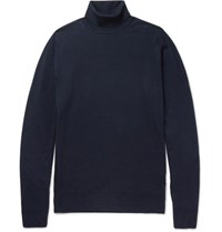 John Smedley Cherwell Merino Wool Rollneck Sweater Midnight Blue