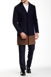 Shades Of Grey Colorblock Overcoat Blue