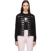 Moncler Black Down And Wool High Neck Jacket