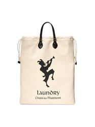 Gucci Drawstring Tote With Chateau Marmont Print Neutrals