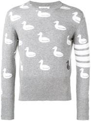 Thom Browne 4 Bar Duck Intarsia Pullover Grey