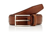 Barneys New York Men's Scotch Grain Leather Belt Brown Tan