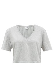 The Upside Annie Cropped Cotton T Shirt Grey