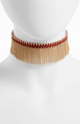Treasure And Bond Women's Chain Fringe Choker Red Orange Gold