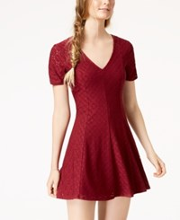 Trixxi Juniors' Ruched Sleeve Eyelet Dress Wine
