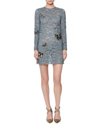Valentino Butterfly Embellished Lace Mini Dress Ardesia Dusty Blue