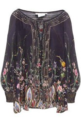 Camilla Woman Wild Flower Crystal Embellished Printed Silk Chiffon Blouse Dark Purple