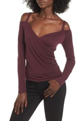 Leith Women's Wrap Front Off The Shoulder Top Burgundy Stem Heather