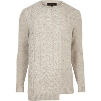 River Island Mens Cream Spliced Cable Knit Jumper