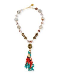Devon Leigh Beaded Coral And Turquoise Tassel Necklace