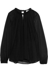 Emilio Pucci Embellished Stretch Tulle Top Black