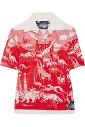 Prada Printed Cotton Poplin Shirt Red